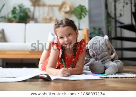 Fiatal lány padló elefánt természet gyermek portré Stock fotó © IS2