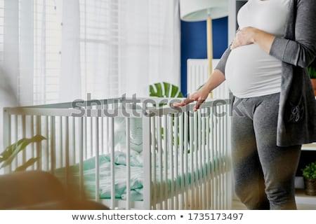 Terhes nők faiskola nő anya ágy Stock fotó © IS2