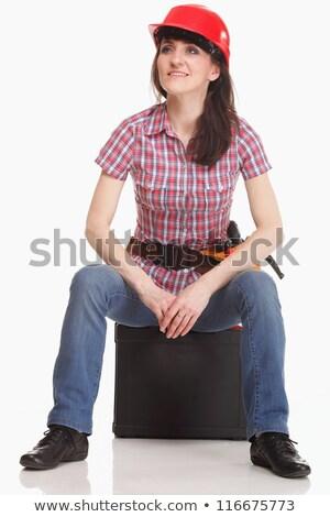 Young, pretty builder girl in white shirt, builder belt, builder Stock photo © Traimak