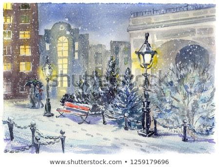 Rue lanterne neige lumière beauté Photo stock © Nobilior
