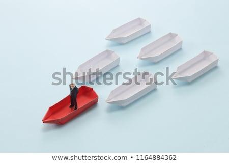 Imprenditore piedi barca a remi natura viaggio barca Foto d'archivio © IS2