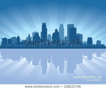 minneapolis city silhouette on sunset background stock photo © ray_of_light
