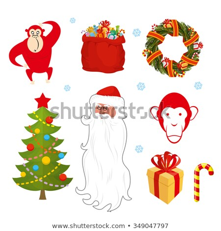 Christmas set. Chinese new year objects: red monkey bag Santa Cl Stock photo © popaukropa