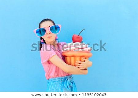 Meisje meisje gelukkig naar reus Stockfoto © Soleil