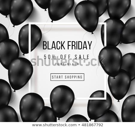 black · friday · vásár · poszter · fényes · léggömbök · piros - stock fotó © articular