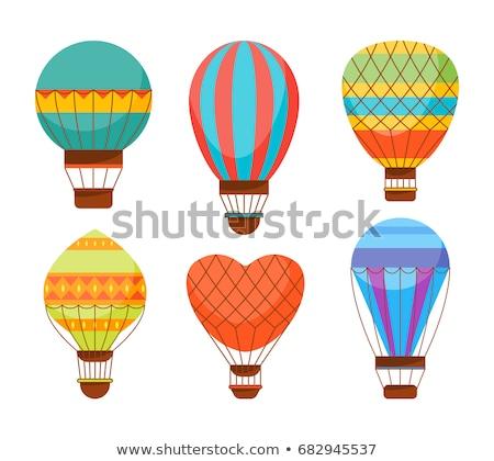 Love couple fly up on the air balloon isolated illustration Stock photo © tiKkraf69