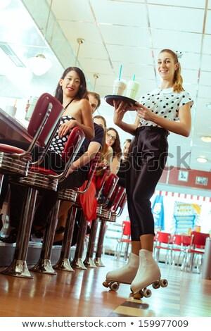 Rétro restauration rapide serveuse patins cartoon Photo stock © rogistok
