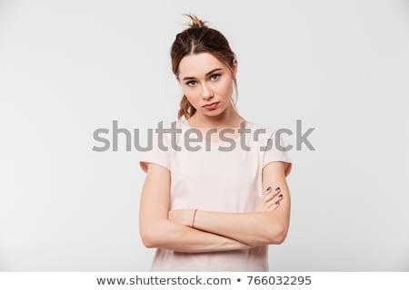 портрет расстраивать довольно девушки Постоянный оружия Сток-фото © deandrobot