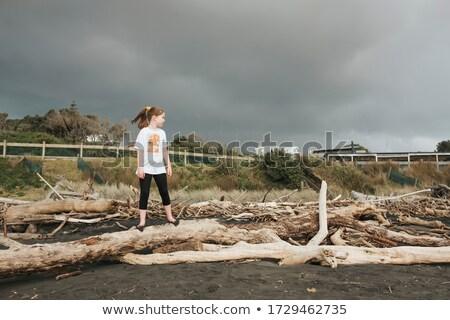 Lány áll tengerpart uszadék jókedv vakáció Stock fotó © IS2