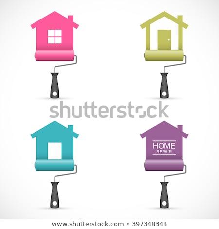 verf · borstel · witte · huis · kunst · Blauw - stockfoto © djdarkflower