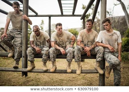 Soldaten vergadering boot kamp portret Stockfoto © wavebreak_media