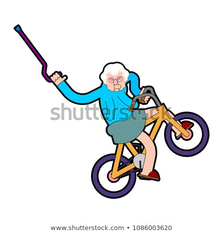 Grootmoeder fiets oma oude dame moderne vector Stockfoto © MaryValery