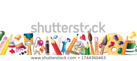 back to school design with colorful pencil brush and other school items on yellow background vecto stock photo © articular