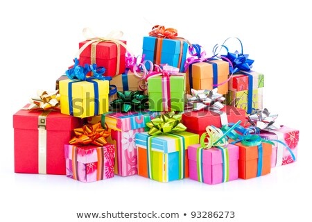 Heap of Gift boxes with ribbon bow, colorful wrapped paper, isolated on white background. Sketch for Stock photo © Lady-Luck