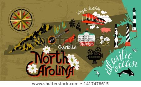 Desenho animado Carolina do Norte ilustração sorridente gráfico américa Foto stock © cthoman