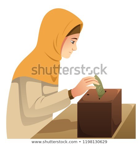 Muslim Woman Making Money Donation Illustration Stockfoto © Artisticco