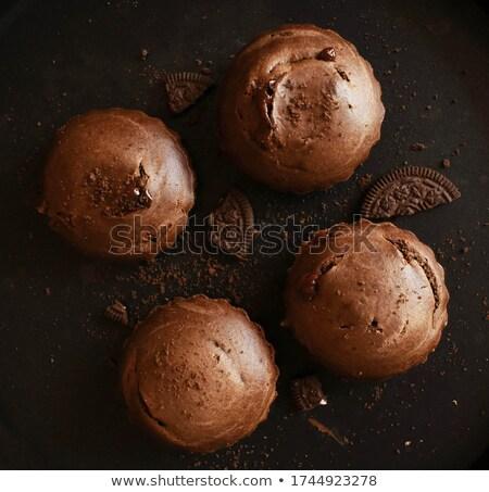 Frissen előkészített házi készítésű muffin fehér étel Stock fotó © bdspn