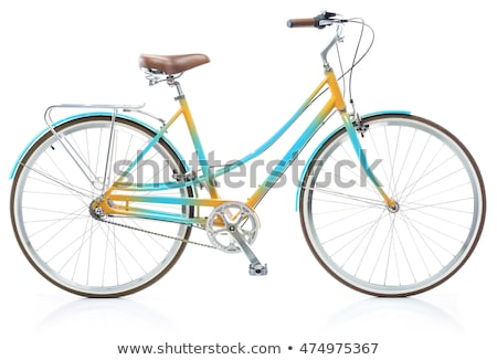 Stylish womens blue and yellow bicycle isolated on white Stock photo © vlad_star