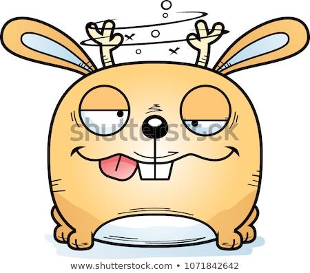 Pijany cartoon ilustracja patrząc bunny uśmiechnięty Zdjęcia stock © cthoman
