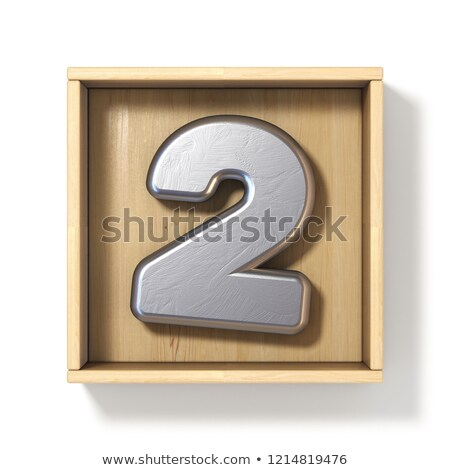 Silver metal number 2 TWO in wooden box 3D Stock photo © djmilic