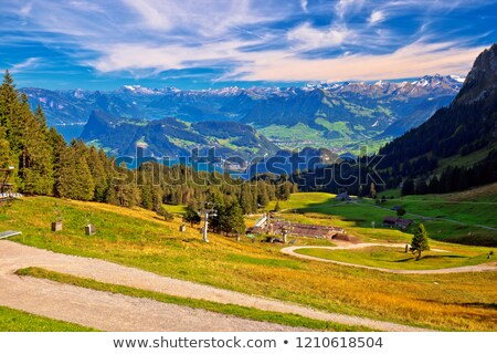 Hillside landscape under Pilatus mountain with Lucerne lake aeri Stock photo © xbrchx