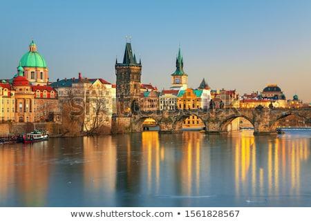 ősi Prága katedrális híd víz nyár Stock fotó © Givaga