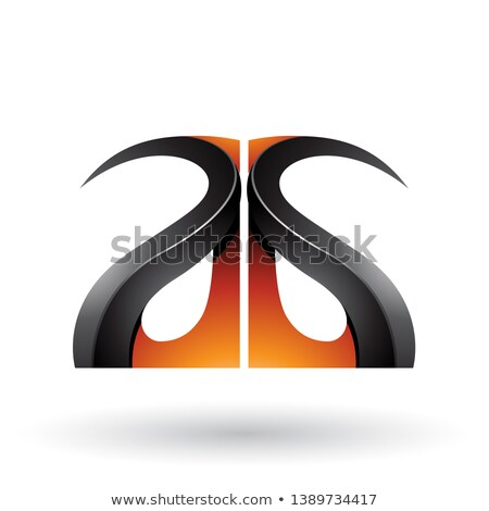 oranje · zwarte · brieven · vector · illustratie · geïsoleerd - stockfoto © cidepix