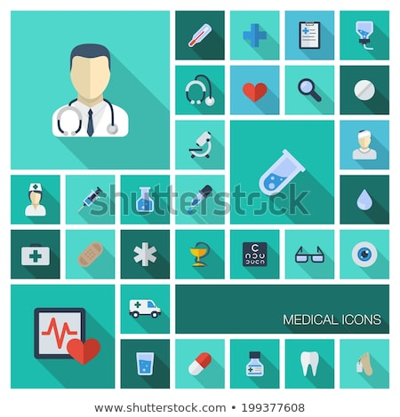 Hospital color icon with shadow on a blue background Stock photo © Imaagio