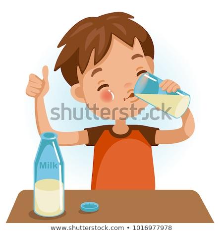 Stock fotó: Egészséges · étel · italok · tej · asztal · izolált · görögdinnye