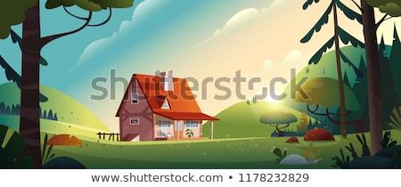 Scène bâtiments village illustration ciel paysage Photo stock © colematt