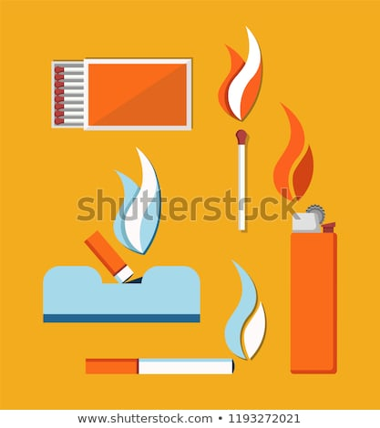 cigarettes matches and cigar lighter vector card stock photo © robuart