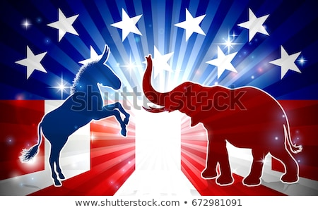 Imagine de stoc: Supărat · politic · elefant · republican · vs · măgar