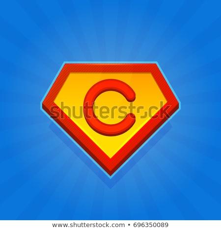 c letter man red yellow icon vector symbol Stock photo © blaskorizov