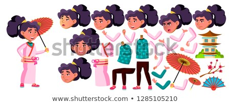 Asian Girl Kid Vector. Japan School Child. Animation Creation Set. Face Emotions, Gestures. Kimono.  Stock photo © pikepicture