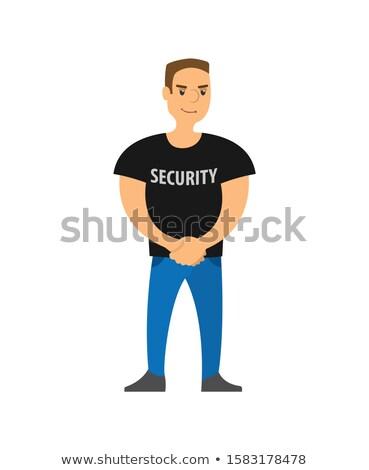 policjant · stałego · policji · stacja · ilustracja · biały - zdjęcia stock © robuart