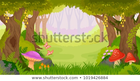 Stock photo: Set of fairy tale forest