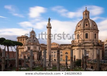 Coluna Roma igrejas pôr do sol céu cidade Foto stock © Givaga