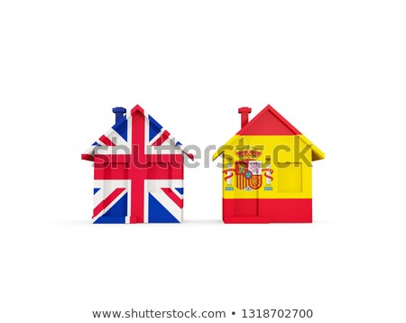 Twee huizen vlaggen Verenigd Koninkrijk Spanje geïsoleerd Stockfoto © MikhailMishchenko