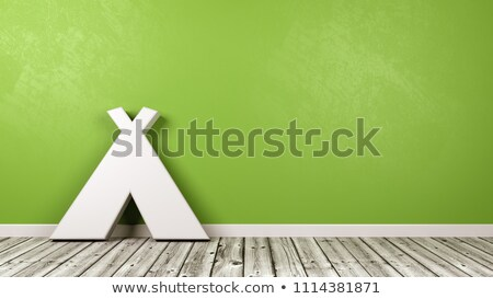 Tent Symbol on Wooden Floor Against Wall Stock photo © make