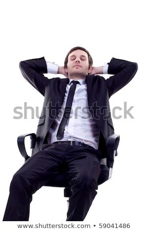Moe zakenman dutje geïsoleerd uitgeput bureau Stockfoto © konradbak