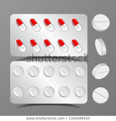 Pillows Set Vector. Medical Capsule. Pharmacy Antibiotic. Round Drug. Isolated Realistic Illustratio Stock photo © pikepicture