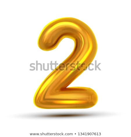 2 Two Number Vector. Golden Yellow Metal Letter Figure. Digit 3. Numeric Character. Alphabet Typogra Stock photo © pikepicture