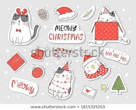 Weihnachten Karten Gruß Kitty Katze Stock foto © robuart