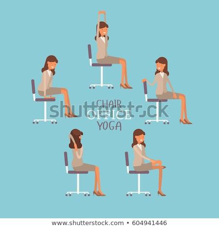 Stockfoto: Yoga · stoel · pose · icon · ontwerp · geïsoleerd