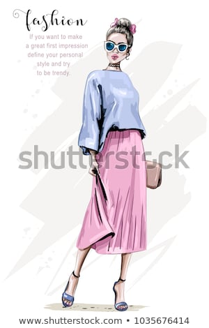 ストックフォト: ファッション · ベクトル · スケッチ · 靴 · は虫類 · 革