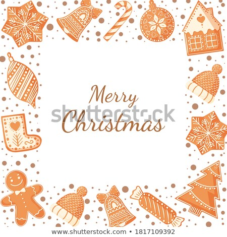 holly jolly gingerbread man cookie presents set stock photo © robuart