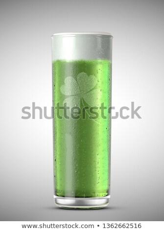 Zöld sör pint alakú üveg fej Stock fotó © albund