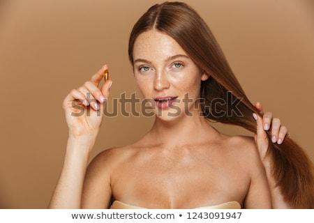 肖像 笑みを浮かべて 小さな トップレス 女性 孤立した ストックフォト © deandrobot