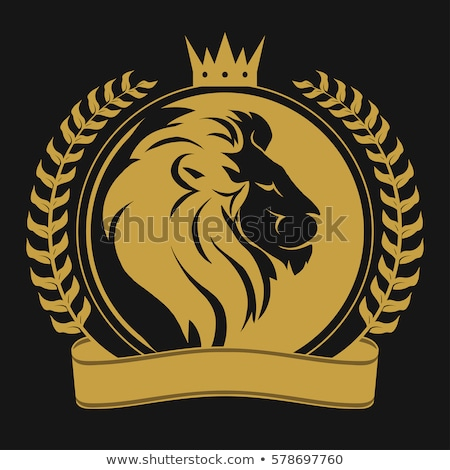 lion head with crown royal cat profile golden luxury emblem vector stock photo © andrei_