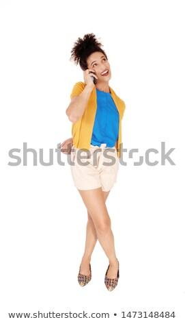 Incroyable souriant belle femme parler téléphone portable image Photo stock © deandrobot